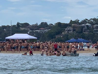 Large crowds have gathered at Lilli Pilli, south of Sydney.