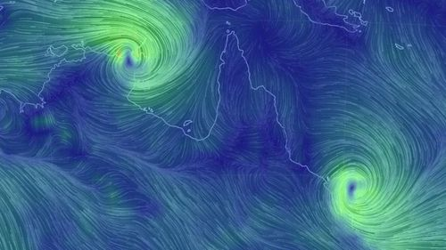 An Earth wind map showing Cyclones Lam and Marcia bearing down on the Northern Territory and Queensland respectively. (http://earth.nullschool.net/)