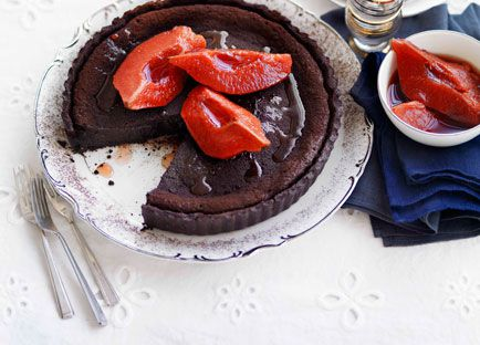 Chocolate and quince tart