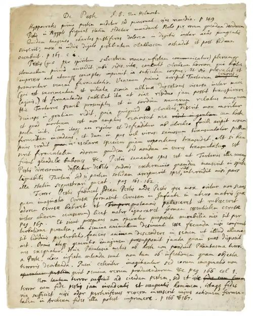 Newton's autographed notes on the cause, symptoms, and treatment of the Black Death.