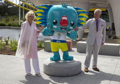 The Prince of Wales and the Duchess of Cornwall during a visit to the Athletes Village at the 2018 Gold Coast Commonwealth Games on Day two of their tour to Australia. (AAP)