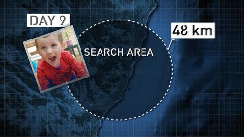 Search area extended to 48kms on day 9. (9NEWS)