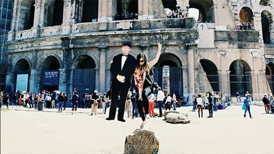 Jinna Yang and her dad in front of the Colosseum in Rome (Instagram).