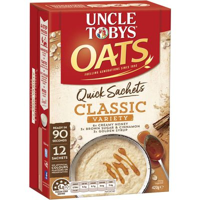 Uncle Toby's Quick Oats Sachets (Classic) = 23g sugars per 100g