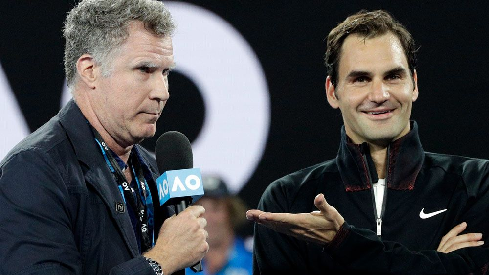 Will Ferrell interviews Roger Federer after first round Australian Open win