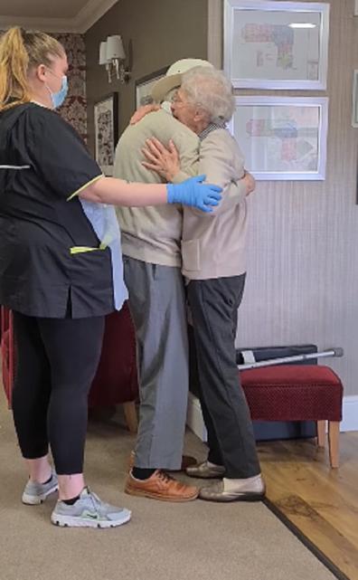 Elderly couple reunites after months apart