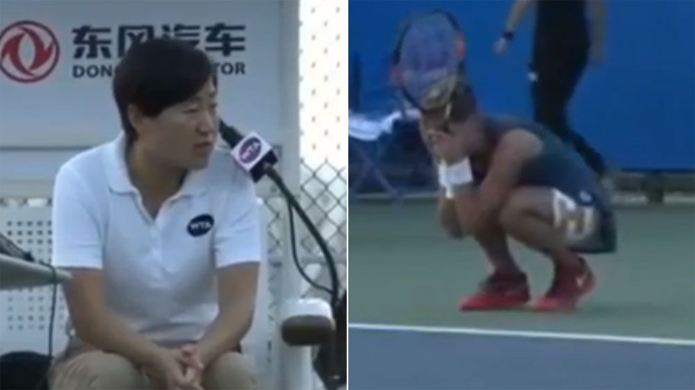 Czech tennis player Barbora Strycova loses it at umpire at Wuhan Open in China