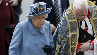 Queen Elizabeth II arrives to attend the annual Commonwealth Day Service