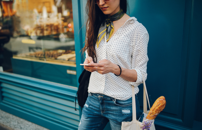 Woman in France with baguette