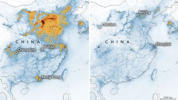 The satellite images have detected a significantdecreases in nitrogen dioxide over China.