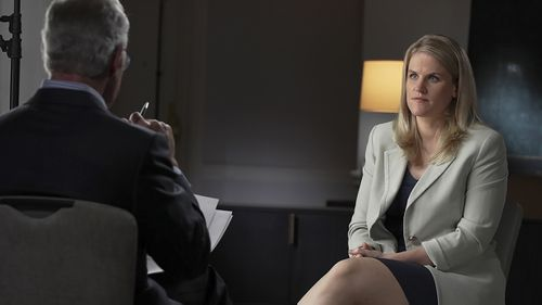 """In this Sept. 16, 2021, photo provided by CBS, Facebook whistleblower Frances Haugen talks with CBS' Scott Pelley on """"60 Minutes"""" in the USA."""