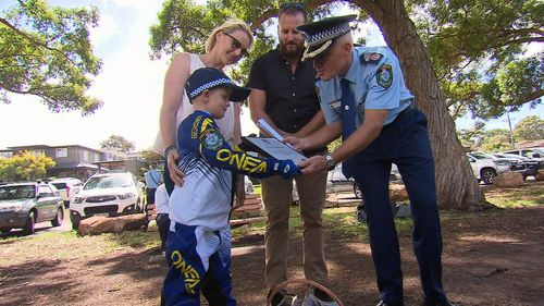 Finn's ultimate dream of becoming a crime-fighting officer was granted today thanks to NSW Police. (9NEWS)