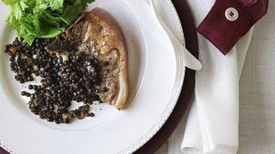"Recipe:&nbsp;<a href=""http://kitchen.nine.com.au/2016/05/17/10/31/confit-pork-chops-with-braised-green-lentils"" target=""_top"" draggable=""false"">Confit pork chops with braised green lentils</a>"