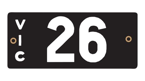 The Victorian Heritage Numerical Number Plate '26' which sold for $1.11m.