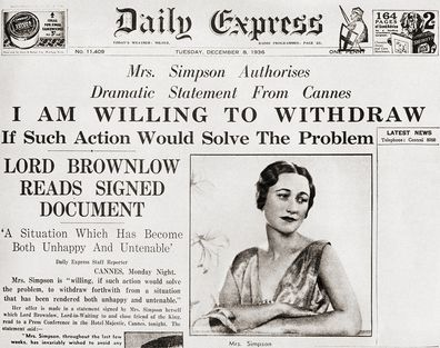 Front page story from The Daily Express of December 8th, 1936 issuing a statement from Simpson.