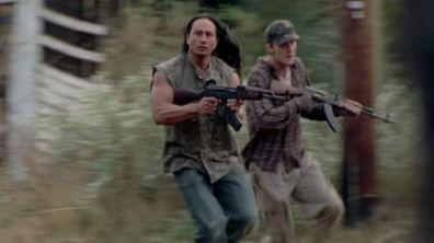 The Walking Dead, Dango Nguyen, running, gun, on set