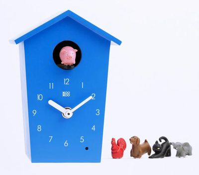 <p>For clock-watching parents everywhere this kid's 'cuckoo' clock tells the time with different animal sounds. Bad day? Pop the black cat in. Happy day? Swap in the pink piggy.</p>