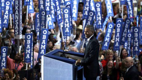 Mr Obama speaks in Philadelphia. (AAP)