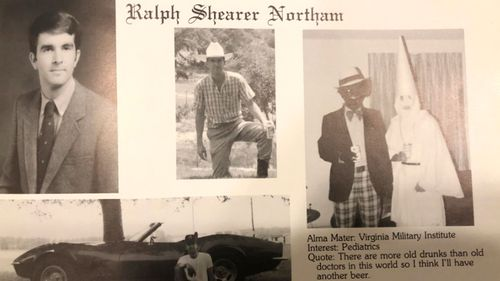 The racist photo, right, from Governor Ralph Northam 1984 year book.