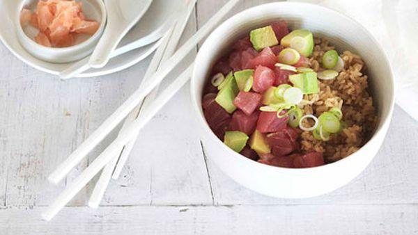 Yellowfin tuna and avocado donburi