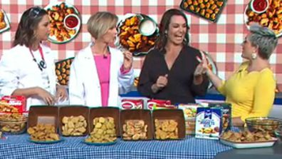 Brooke Boney and Deb Knight talk chicken nuggets with nutritionist Dr. Jo McMillan and 9Honey's food writer Jane de Graaff