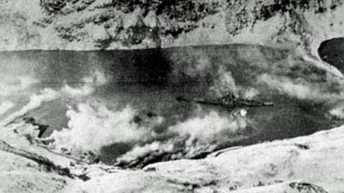 Clouds of the acid released to screen the Tirpitz from Allied aircraft. (Photo: Imperial War Museums UK).