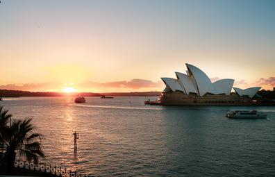 Sunrise on Sydney Harbour featuring Opera House taken from the Park Hyatt Sydney.