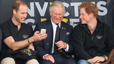 "Prince Charles shares a laugh with Prince William and Prince Harry<span style=""white-space: pre;"">	</span>"