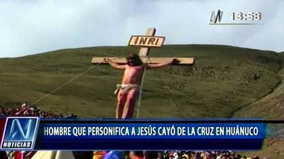 Worshipers gasped in horror as 'Jesus' fell off the cross in an Easter re-enactment of the crucifixion.