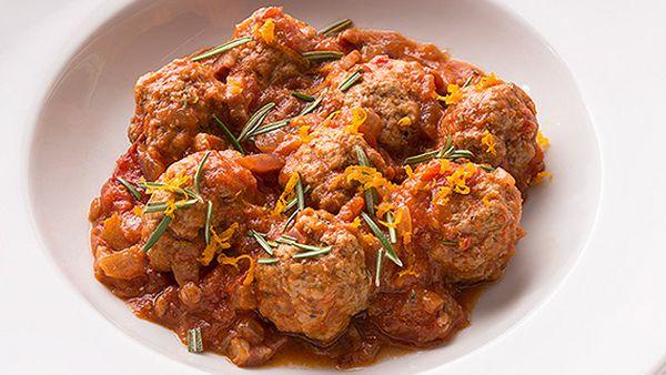 Tobie Puttock's trim meatballs in a rich tomato sauce