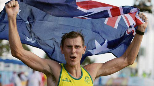 Bird-Smith with the Australian flag. (AAP)
