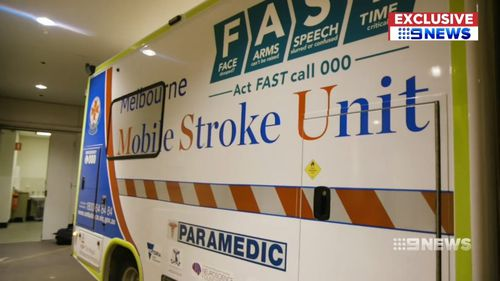 Melbourne has launched its first mobile stroke unit as part of a trial. Picture: 9NEWS