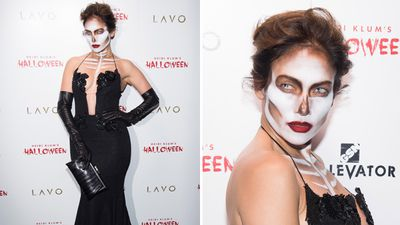 Jennifer Lopez in her best spooky get-up. (AAP)