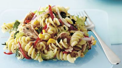 "Recipe: <a href=""http://kitchen.nine.com.au/2016/05/17/19/00/warm-tuna-pasta-salad"" target=""_top"">Warm tuna pasta salad</a>"