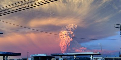 The volcano lies around 1400 km south of the Chilean capital, Santiago. (AAP)