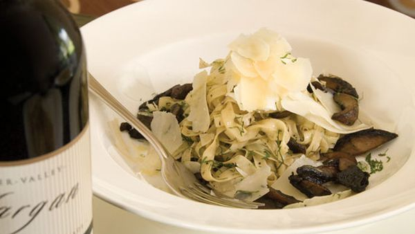 Linguini of wild mushrooms with poached egg