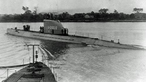 The U-3008 - the sister ship of the advanced Nazi submarine found by Danish researchers - crewed by British sailors in 1946. (Facebook).