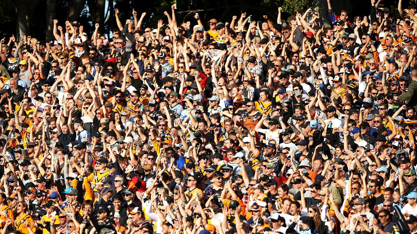 Fans pack into Leichhardt Oval to watch a pivotal final round clash between the Tigers and Sharks in 2019.