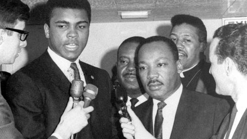 Martin Luther King (right) with Muhammad Ali.