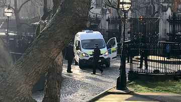 Armed police at London's Houses of Parliament after a man is tasered and arrested inside the Palace of Westminster.
