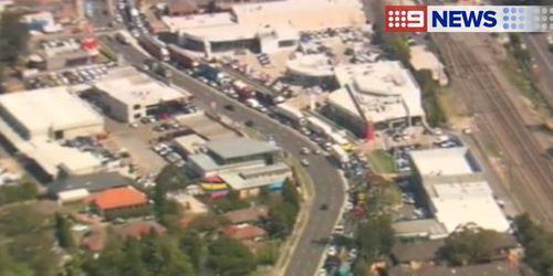 Traffic was banked back along Pennant Hills Road as a result of the spill. (9NEWS)
