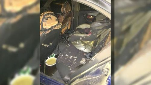 Liz Korosi and Becky Brown's burnt out car. (A Current Affair)