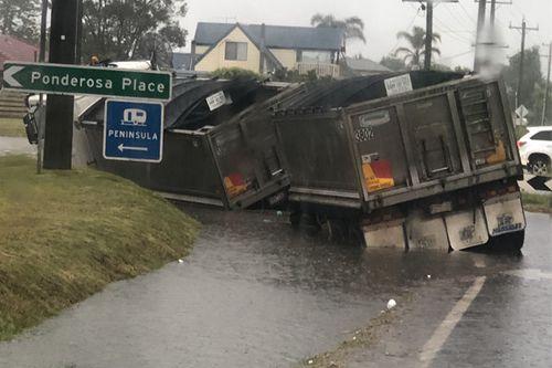 Truck in flood water in Victoria's Mornington Peninsula.