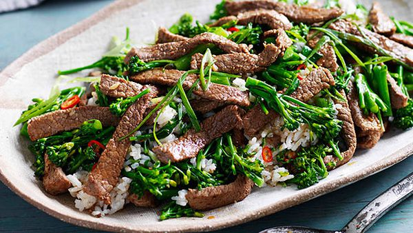 Beef, broccolini and chilli fried rice