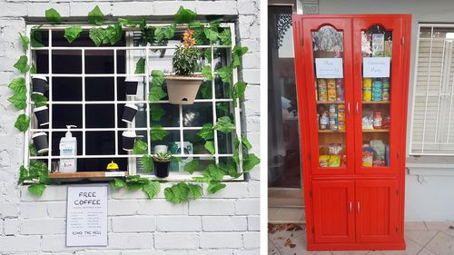 Sydney man surprises his neighbours with free café, kitchen pantry and herb garden