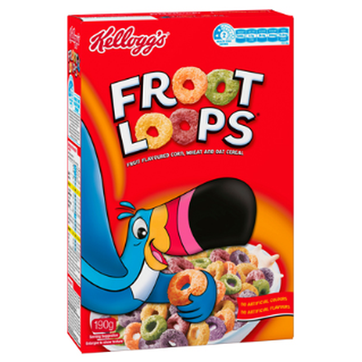 <strong>Froot Loops (38 grams of sugar per 100 grams)</strong>