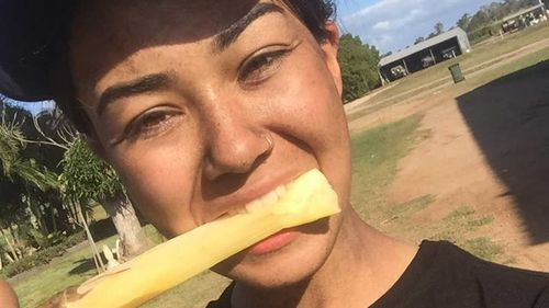 Mia Ayliffe-Chung chews sugar cane in a selfie posted days before her death. (Facebook)
