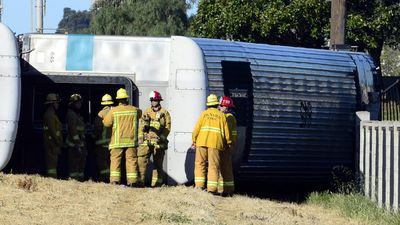 The accident happened about 5.45am local time (12.45am AEDT) near the city of Oxnard, 120km from Los Angeles. (AAP)