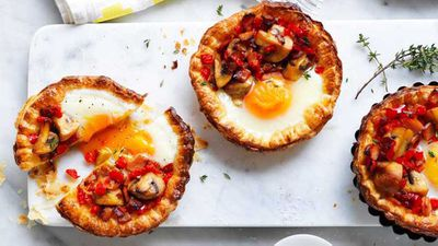 Mushroom and egg breakfast tarts