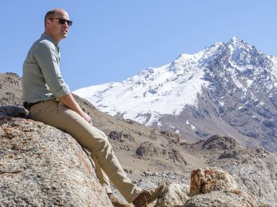 In this Oct. 2019 handout photo provided by Kensington Palace and released on Tuesday, Dec. 31, 2019, Britain's Prince William sits at a glacier in the Hindu Kush mountain range, situated in the Chitral District of Pakistans Khyber-Pakhtunkwa Province. Prince William is kick-starting 2020 with a new drive to dispel the current pessimism around the environment and replace it with fresh optimism and action, by announcing The Earthshot Prize: an ambitious set of challenges initiating global, cross-